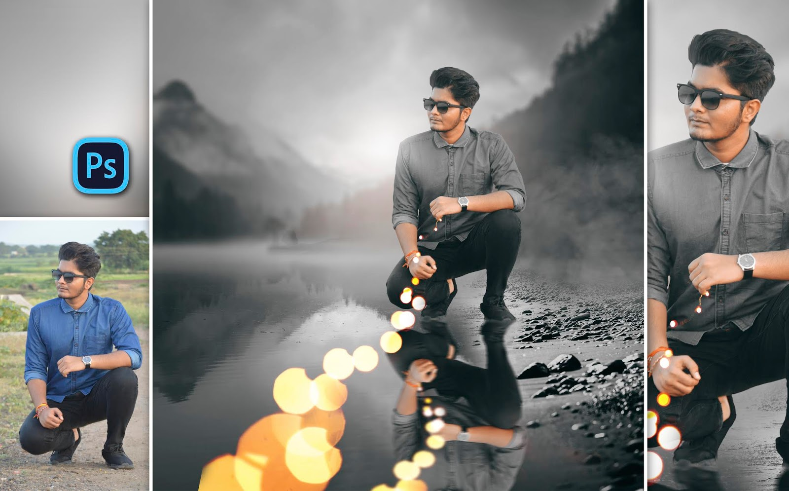 New Concept | Reflection on Water of Boy Holding Fairy Lights in Hand Photo Manipulation in Photoshop