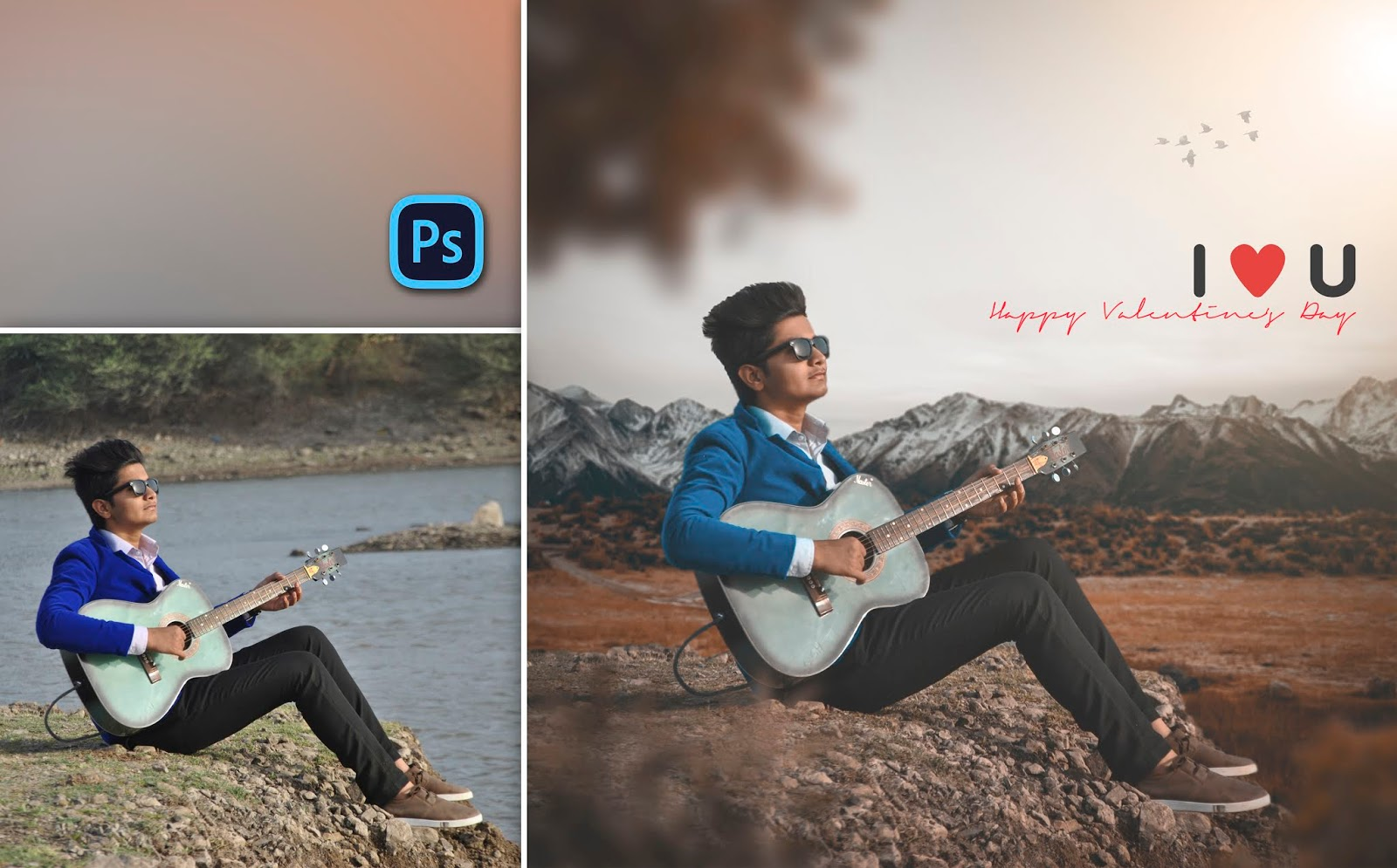 Valentine's Day Special Photo Editing of 2020 in Photoshop | Boy Playing Guitar Photo Editing in Photoshop