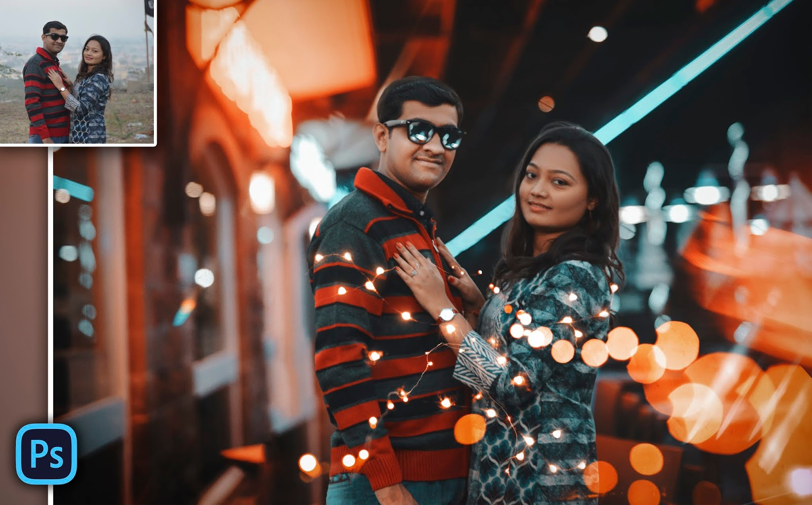 How to Edit Couple Photos Like Brandon Woelfel in Photoshop | Couple Photo Fairy Lights Photo Manipulation