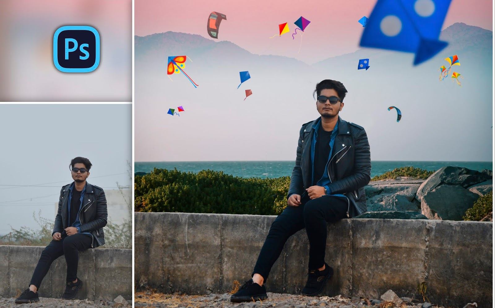 Kite Festival Special Photo Editing in Photoshop | Sky full of Kites Photo Editing Like Instagram Photos