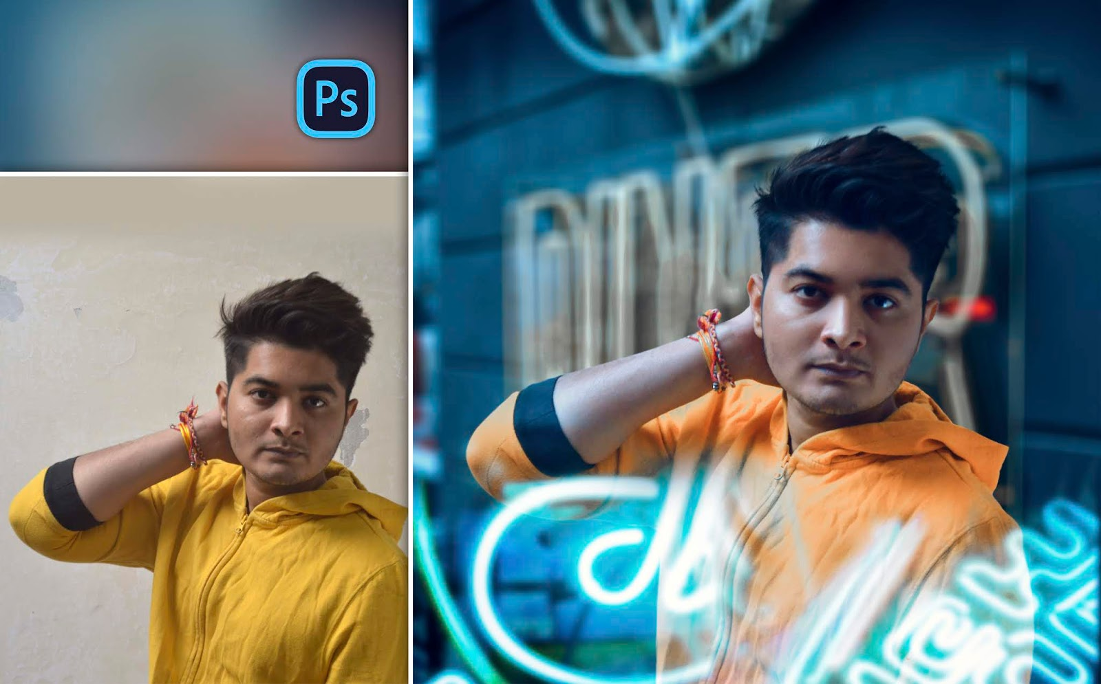 Trending Neon Moody Portraits of Instagram Photo Editing in Photoshop | Arcade Neon Portrait Style Photo Editing