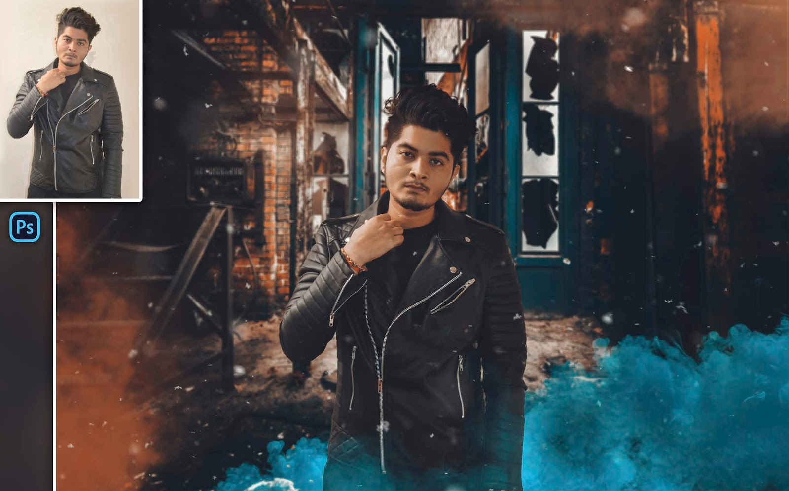 Cinematic Color Smoke Bomb Instagram Moody Photo Editing in Photoshop cc
