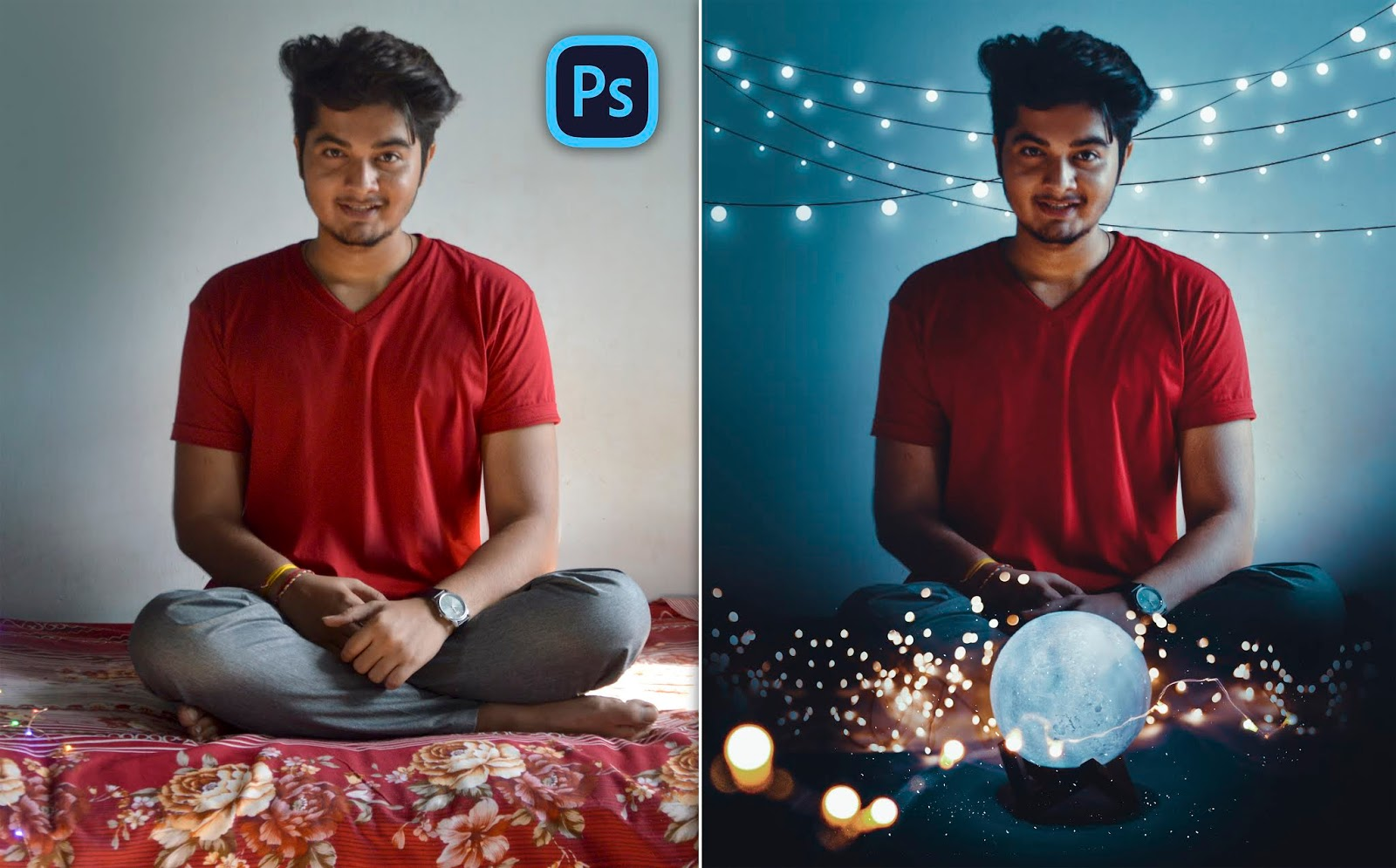 Lightning Ball | Brandon Woelfel Style Fairy Lights on Bed Photo Editing in Photoshop