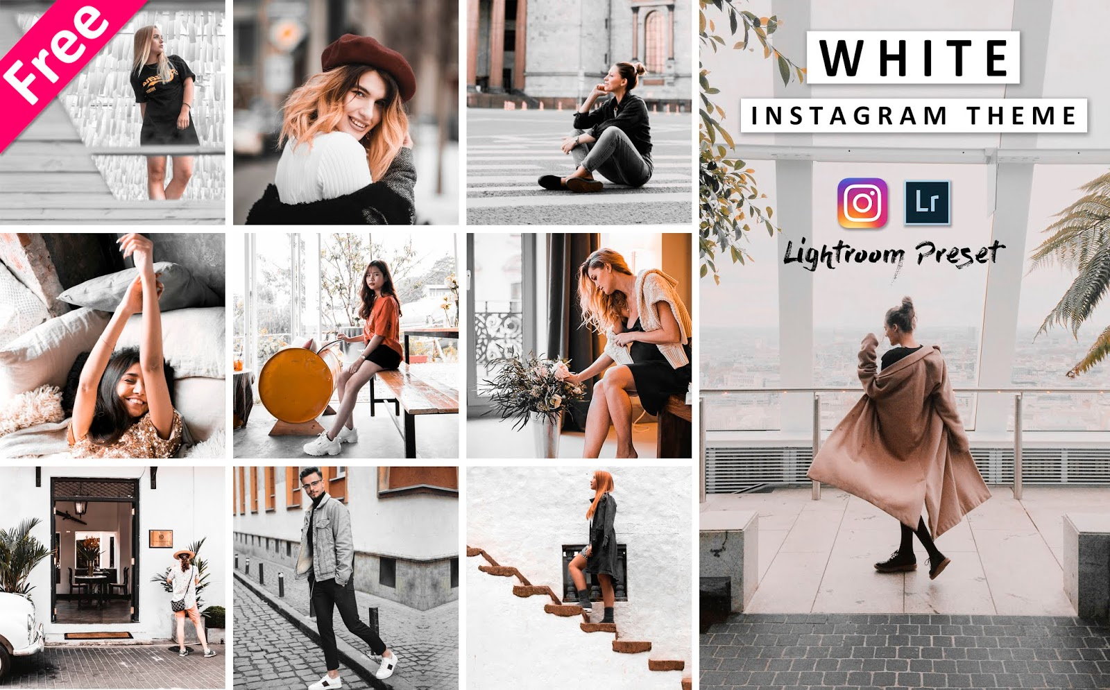 Download Free Instagram White Theme Preset | How to Create White Theme on Instagram in Lightroom