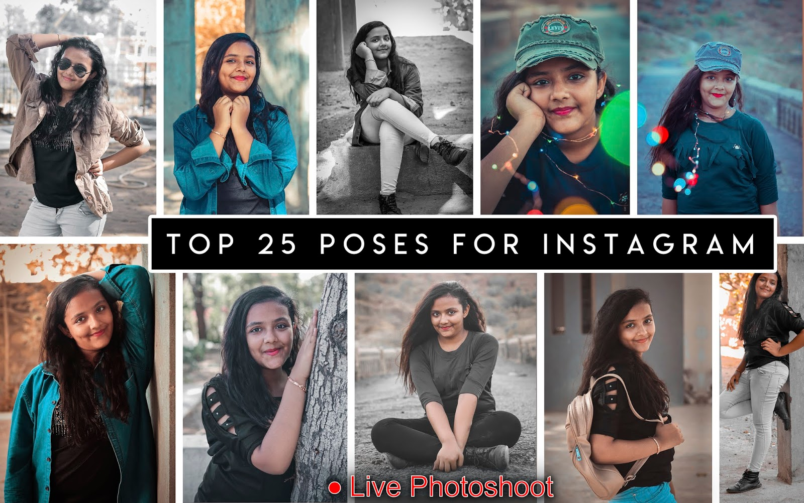 Top 10 Instagram Poses for Girls | Live Photoshoot | Download Free Presets