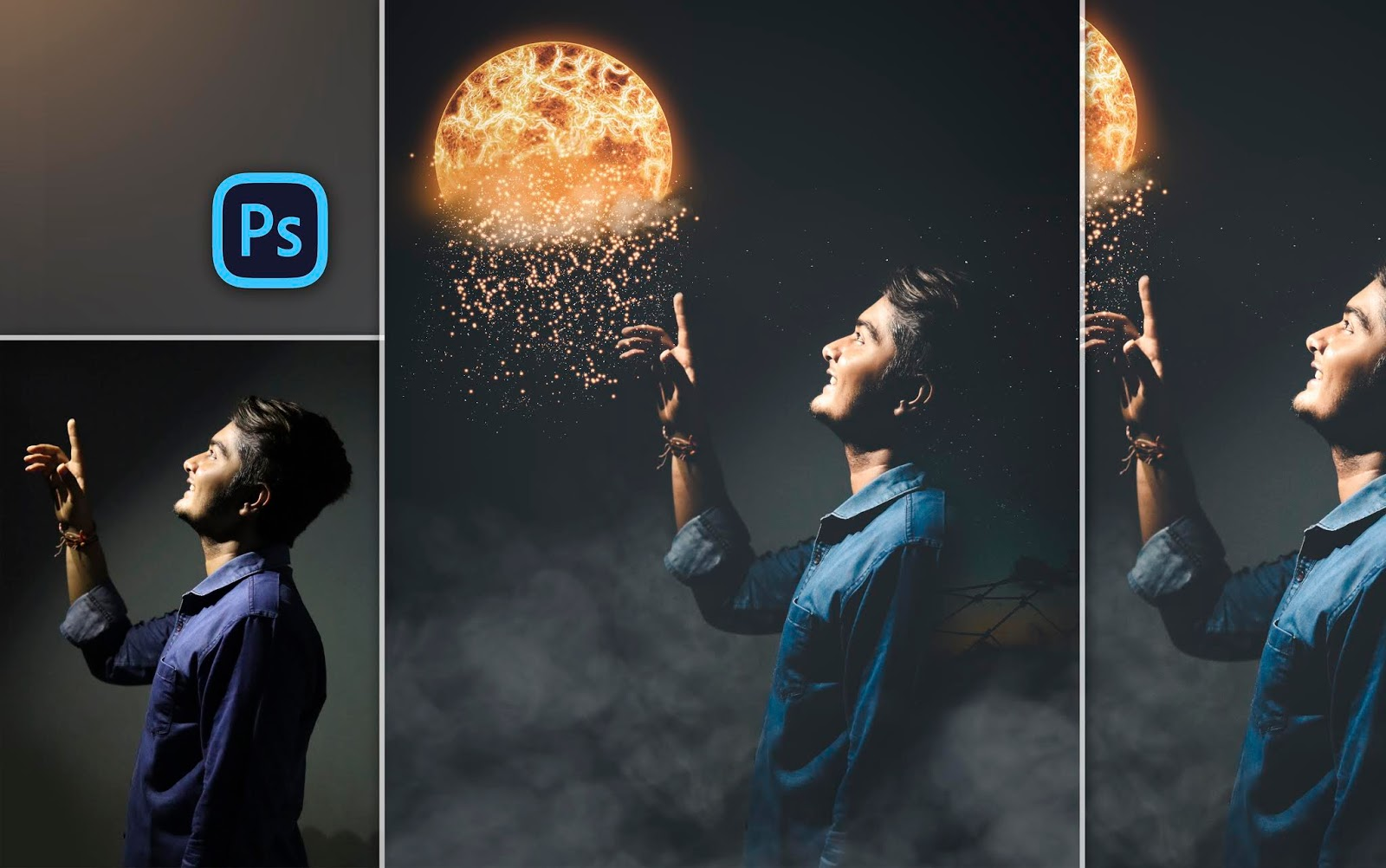 Calop Style Visual Photo Editing | Man Touching Burning Sun | Visual Art Photo Manipulation in Photoshop