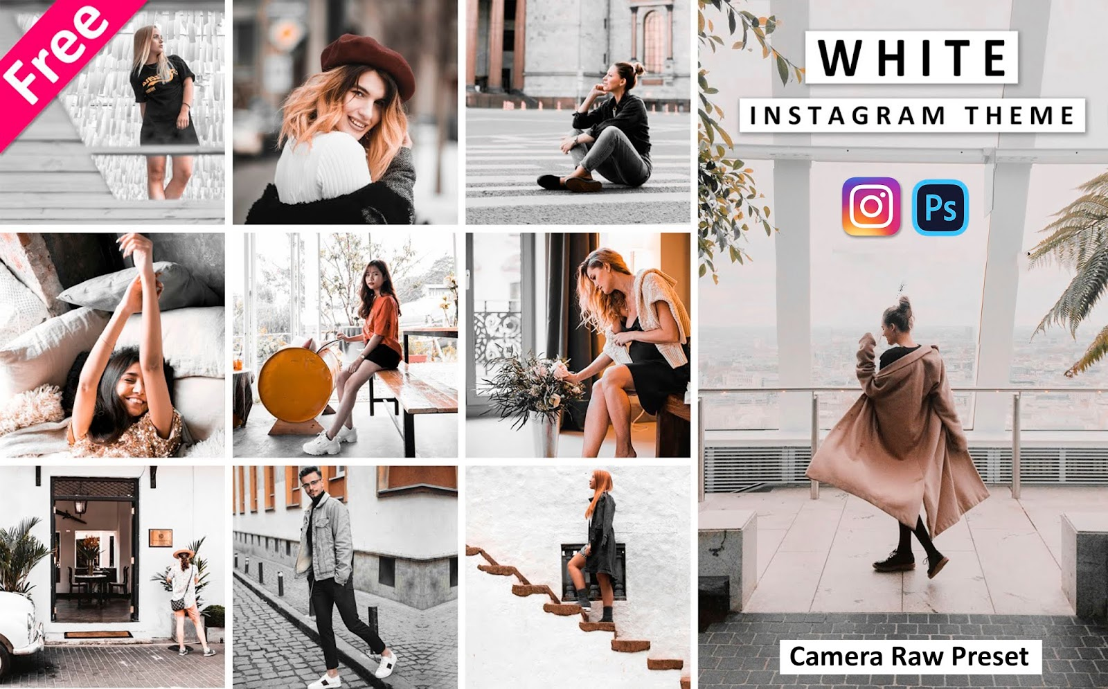 Download Instagram White Camera Raw Presets for Free | How to Create White Theme of Instagram in Photoshop