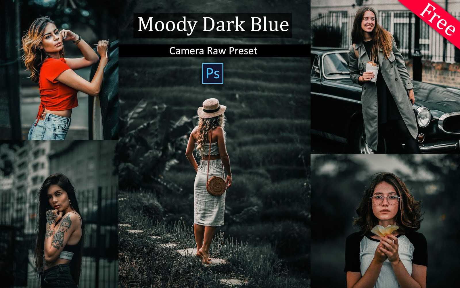 Download Moody Dark Blue Camera Raw Presets for Free | How to Edit Dark Blue Tones in Photoshop