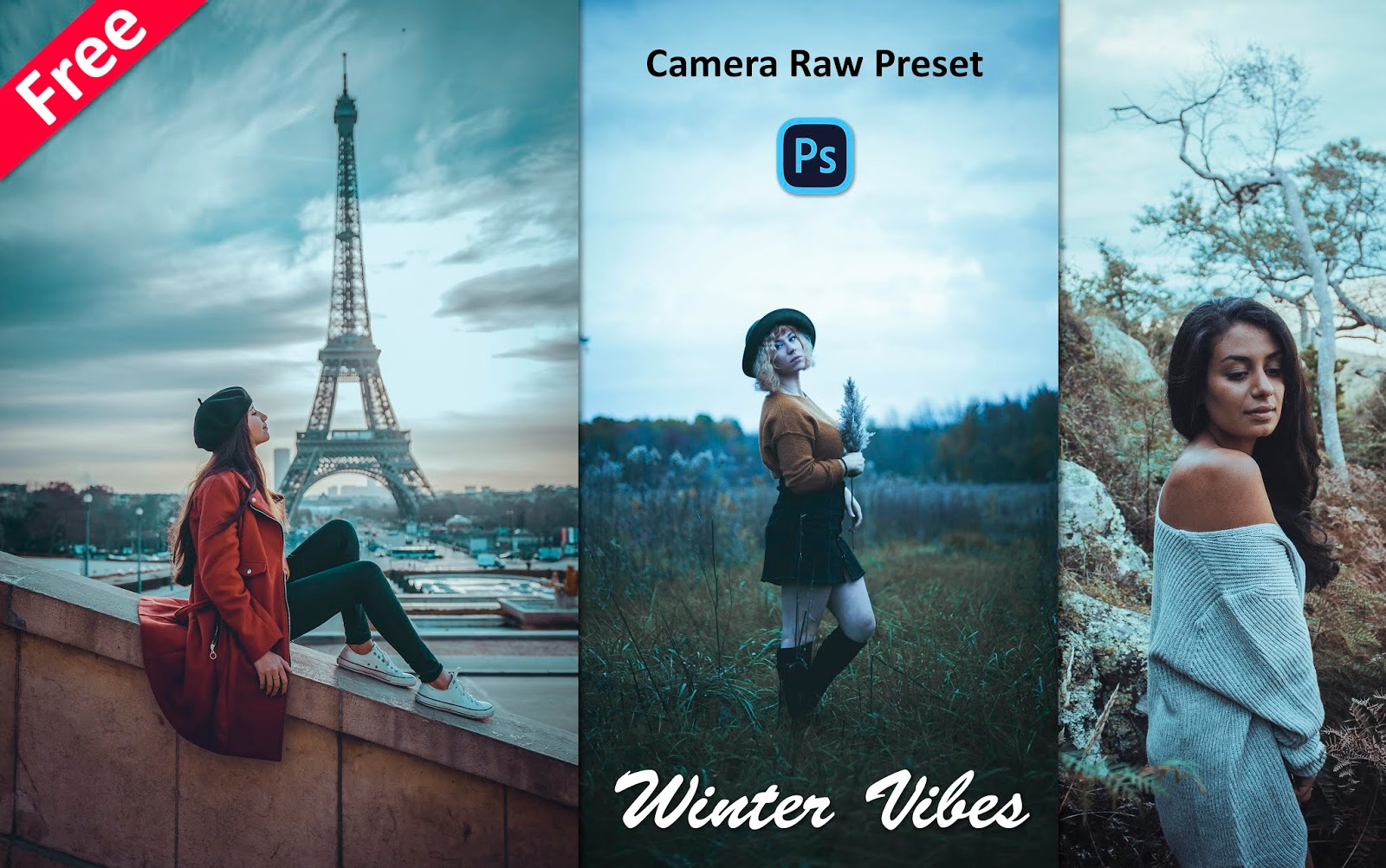 Download Winter Vibes Camera Raw Preset for Free | How to Edit Cold Winter Effect in Photoshop