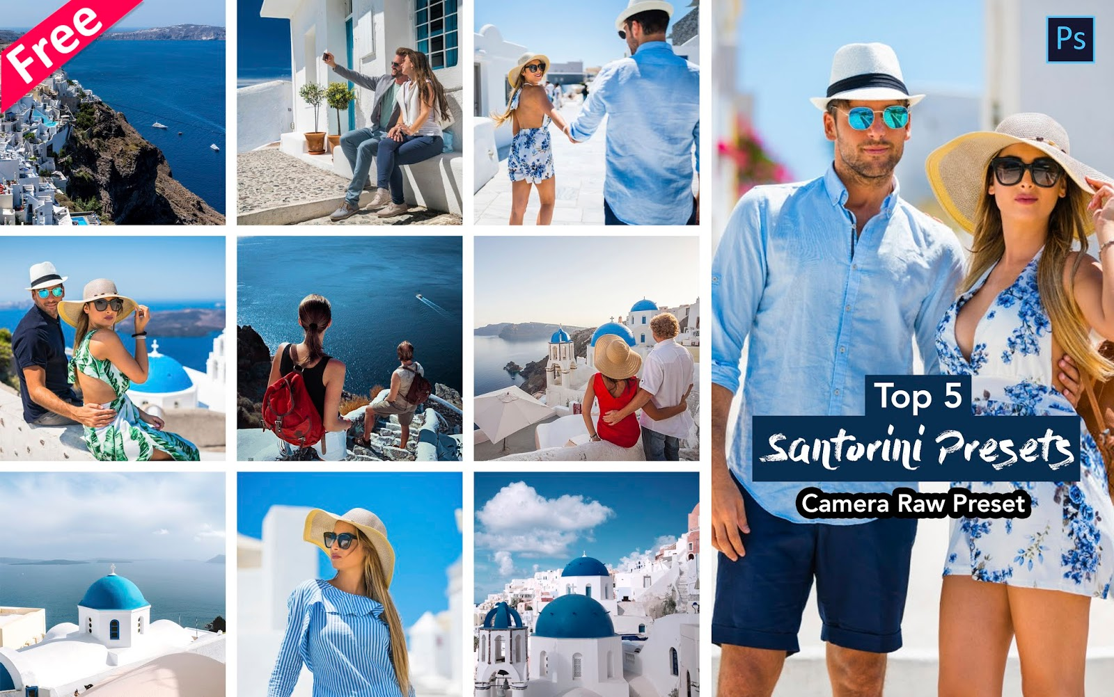 Download Top 5 Santorini Camera Raw Preset for Free | How to Edit Your Travel Photos Like in Photoshop