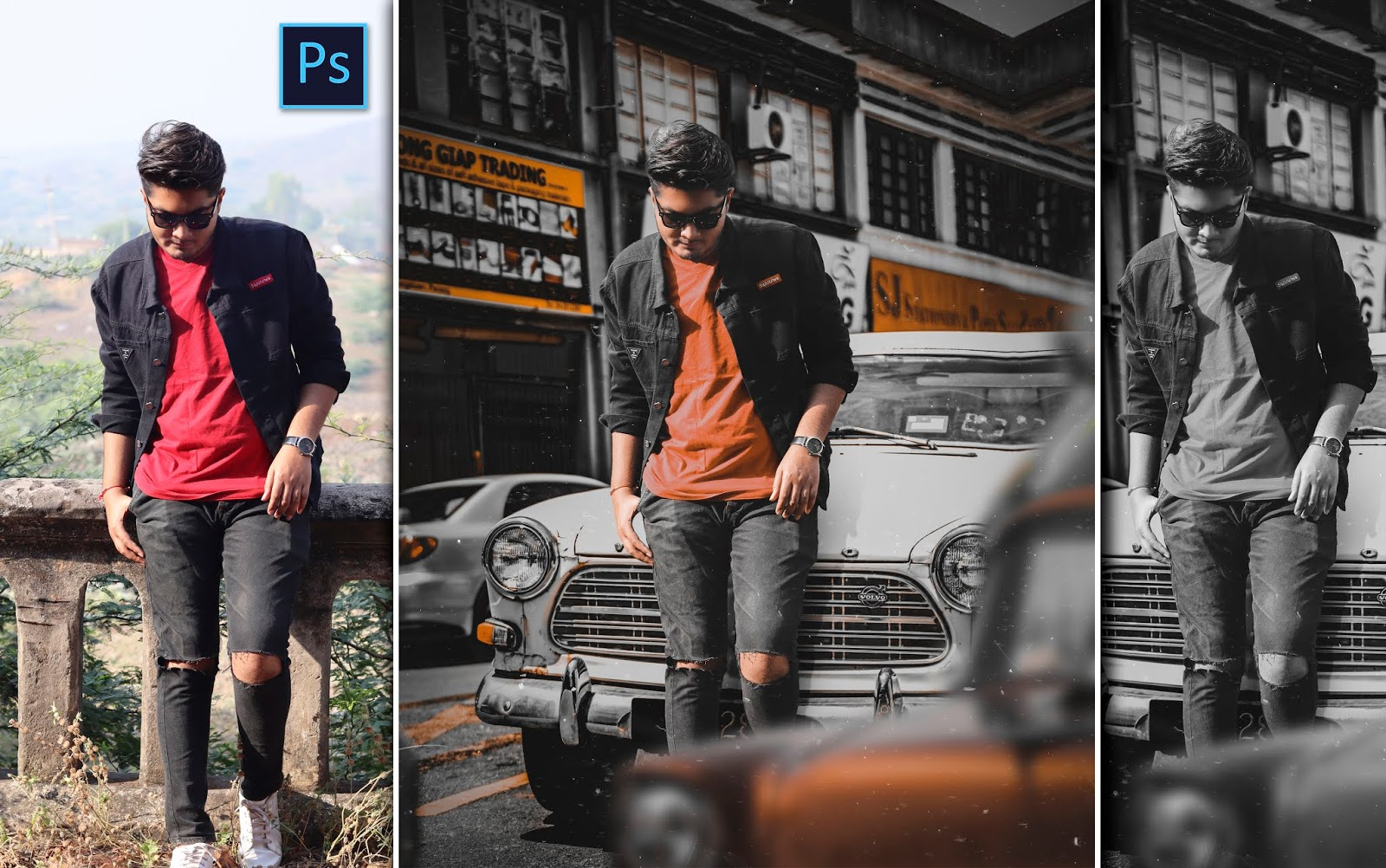 Men Standing Near Vintage Car Photo Editing in Photoshop cc