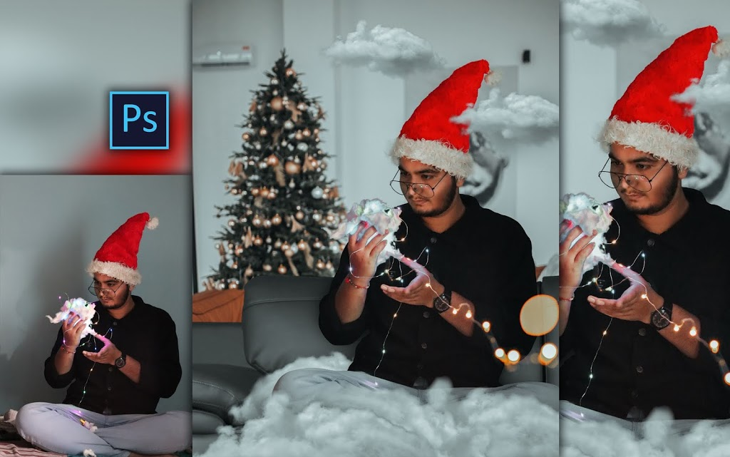 Christmas Special Photo with Fairylights Cotton Cloud Photo Manipulation in Photoshop cc
