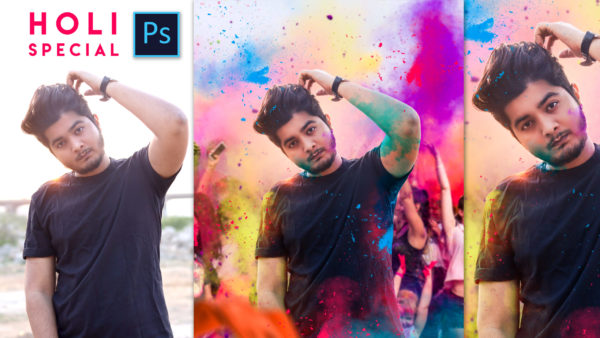 2020 | Holi Special Realistic Photo Editing in Photoshop | Festival of Colors | Smoke Bomb | Ash-Vir Creations