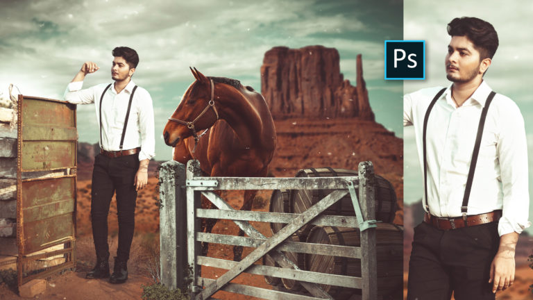 Cowboy Photo Manipulation in Photoshop CC | Cowboy with Horse Photo Editing in Photoshop cc