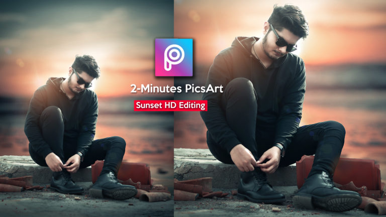 2-Minutes PicsArt Hindi Tutorial | Sunset HD Realistic Photo Manipulation in PicsArt | Sunset Look