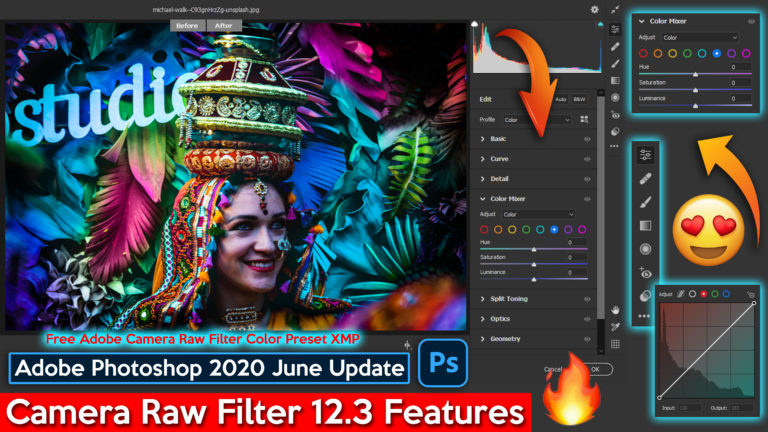 Download Free Adobe Camera Raw Filter 12.3 Official Color XMP Preset File of Adobe Photoshop cc 2020 June Updates | New Features of Camera Raw Filter 12.3 Explained Step by Step in Detailed