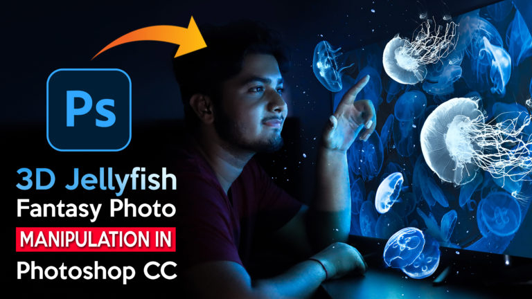 3D Jellyfish Coming Out from Screen Fantasy Photo Manipulation in Photoshop cc | Calop Style Photo Editing in Photoshop cc