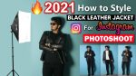 How to Style BLACK LEATHER JACKET for PHOTOSHOOT | 6 WAYS TO STYLE JACKET FOR INSTAGRAM MODEL SHOOT
