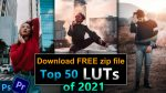 Top 50 LUTs of 2021 | 50 FREE LUTs of All Time | Zip File | 50 Colorlookup 3DLuts for Photoshop & Premiere Pro | 50 Premiere Pro Color Presets